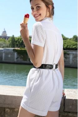 Combi-short en coton avec léger imprimé jacquard 2