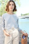 blue blouse with white stripes and lace details 4