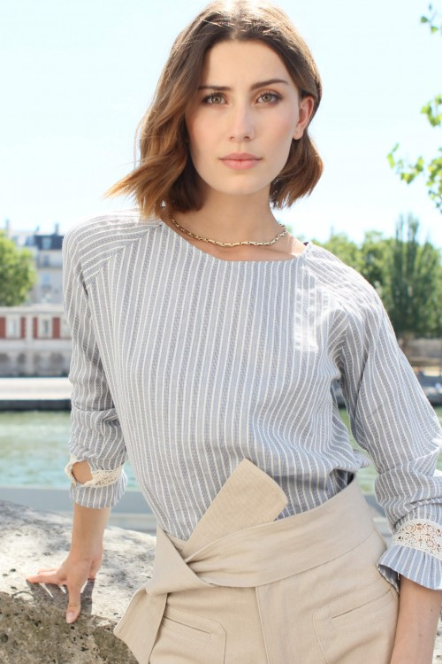 blue blouse with white stripes and lace details 2