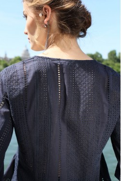 navy blouse with a soft V neckline 3