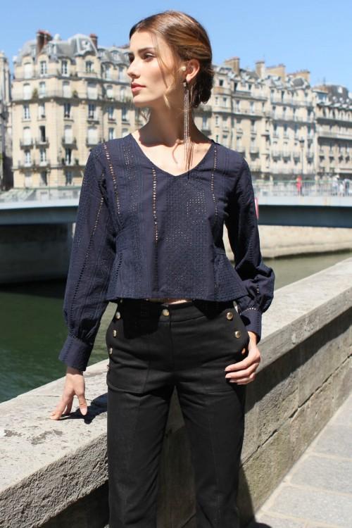 navy blouse with a soft V neckline 1