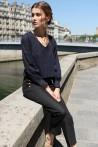 navy blouse with a soft V neckline 4