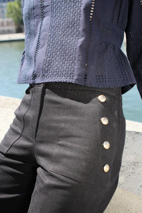 navy blouse with a soft V neckline 5