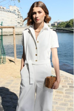 White jumpsuit with short sleeves and gold buttons 1