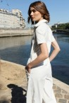 White jumpsuit with short sleeves and gold buttons 3