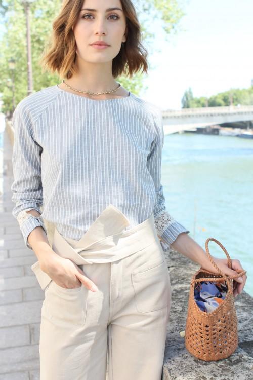 Pantalon à coupe évasée couleur sable 2