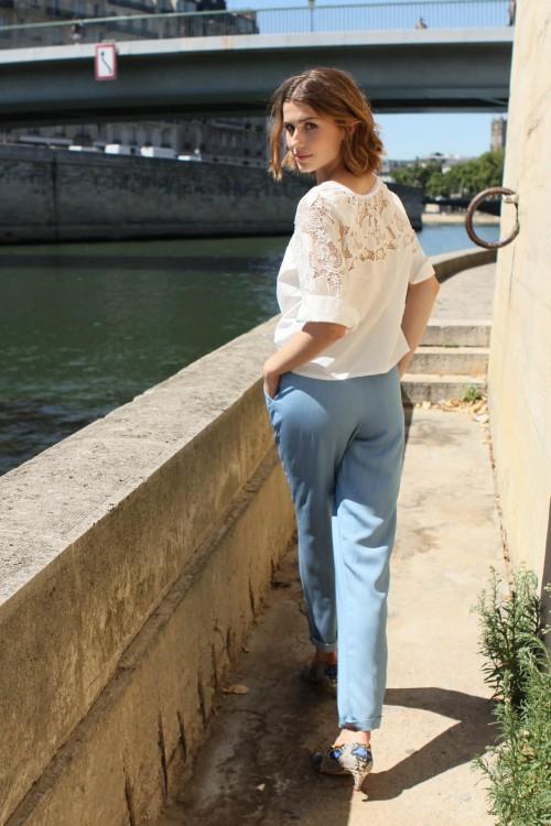 pantalon fluide avec élastique à la taille 3