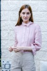 3/4 sleeves pink blouse with snap-buttons 1