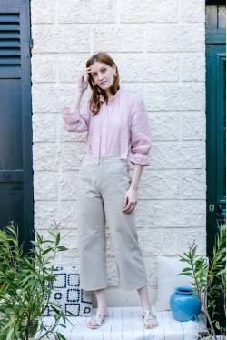 3/4 sleeves pink blouse with snap-buttons 2
