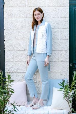 veste ceinturée en jean et jacquard lurex 2