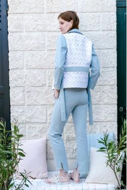veste ceinturée en jean et jacquard lurex 3