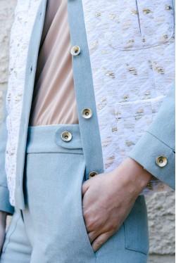 veste ceinturée en jean et jacquard lurex 4