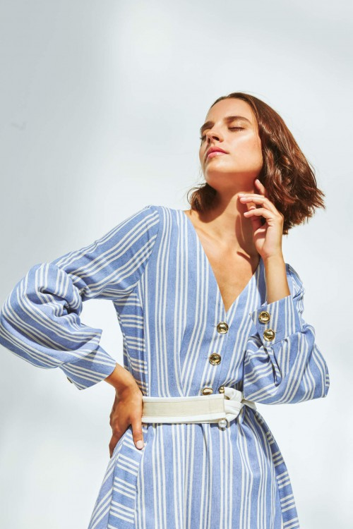 Long dress produced in blue with white stripes 1