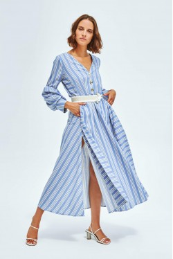 Long dress produced in blue with white stripes 2
