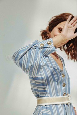 Long dress produced in blue with white stripes 3