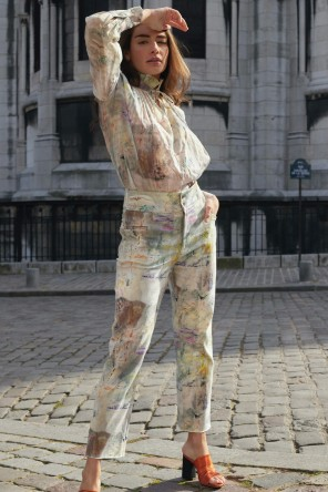 high waist and straight cut pants with prints coming from a painting 2