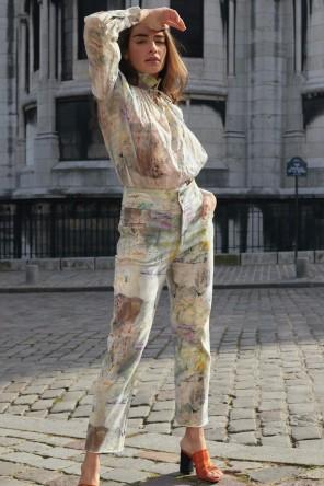 Pantalon aux imprimés abstraits issus d'un tableau 1