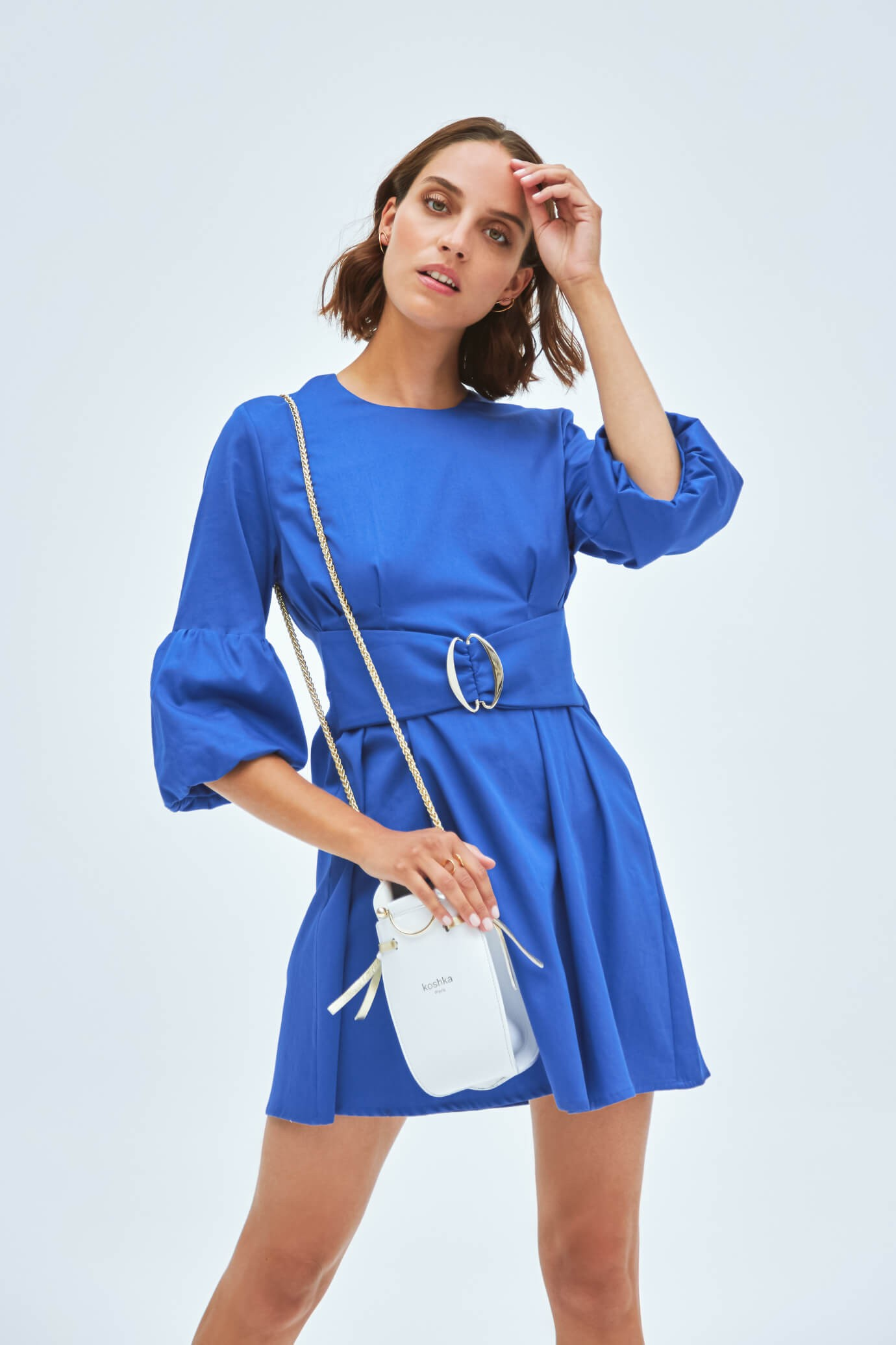 blue dress with a belt included 1