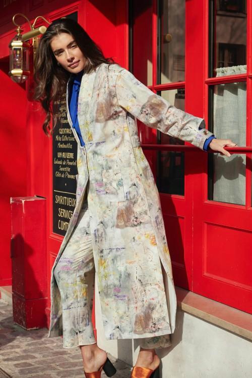 Veste longue en coton imprimé 1