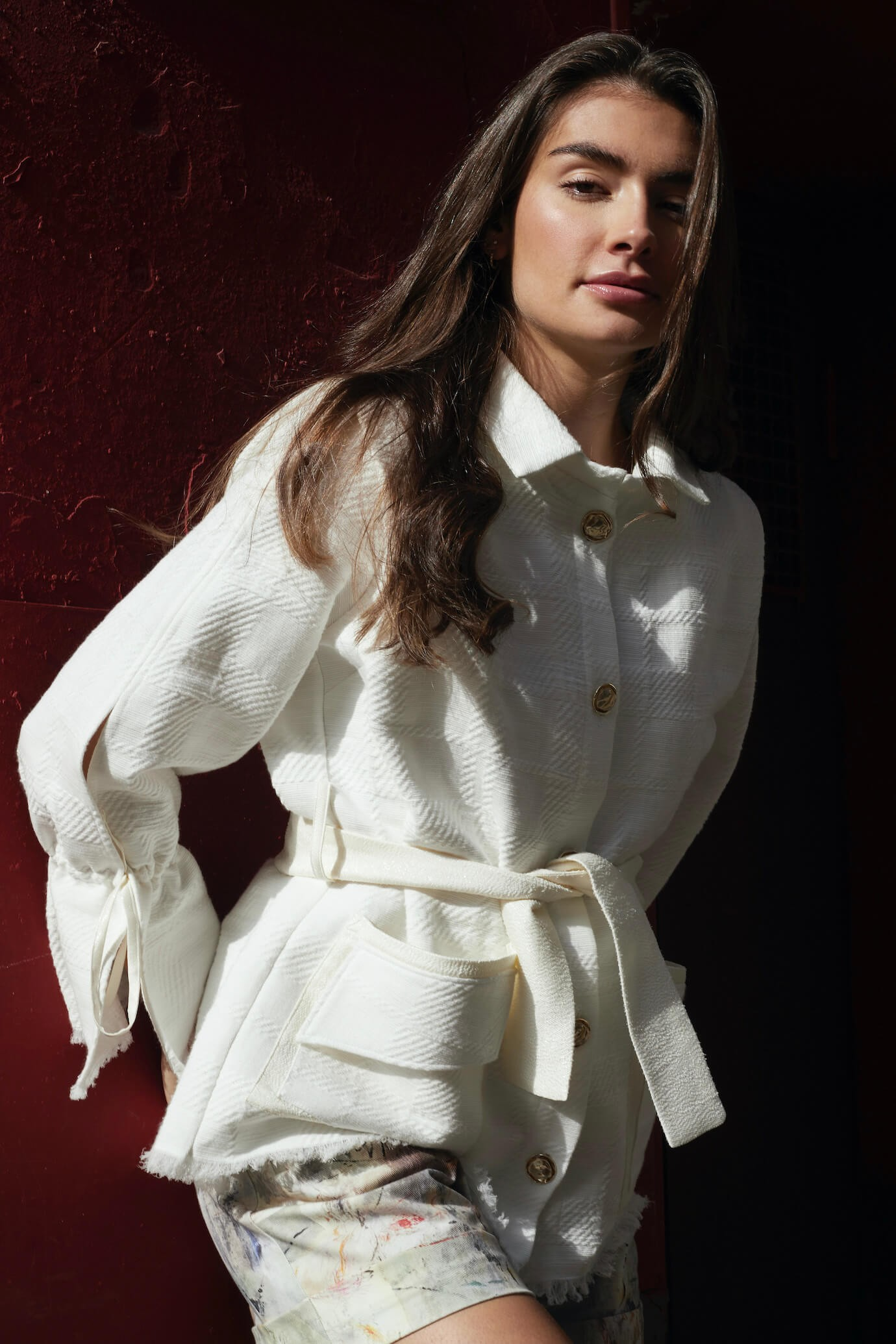 white jacket with hammered gold buttons and original details 1