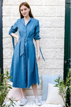 Long dress produced in blue denim with fine white stripes Made in France 1