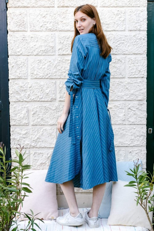 Long dress produced in blue denim with fine white stripes Made in France 2