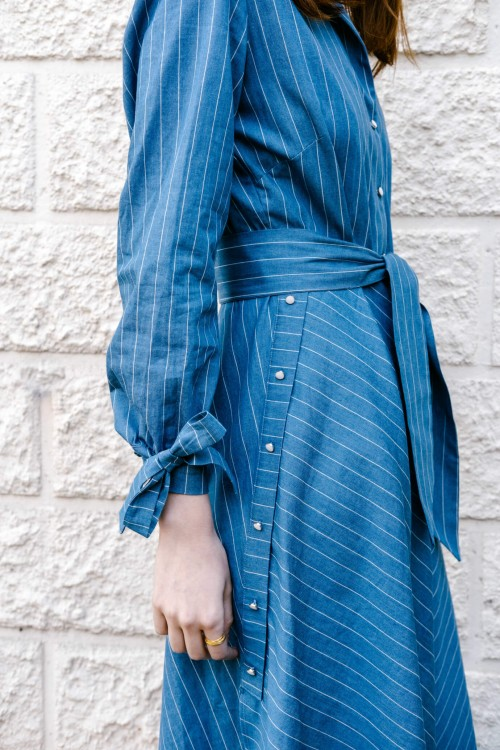 Long dress produced in blue denim with fine white stripes Made in France 3