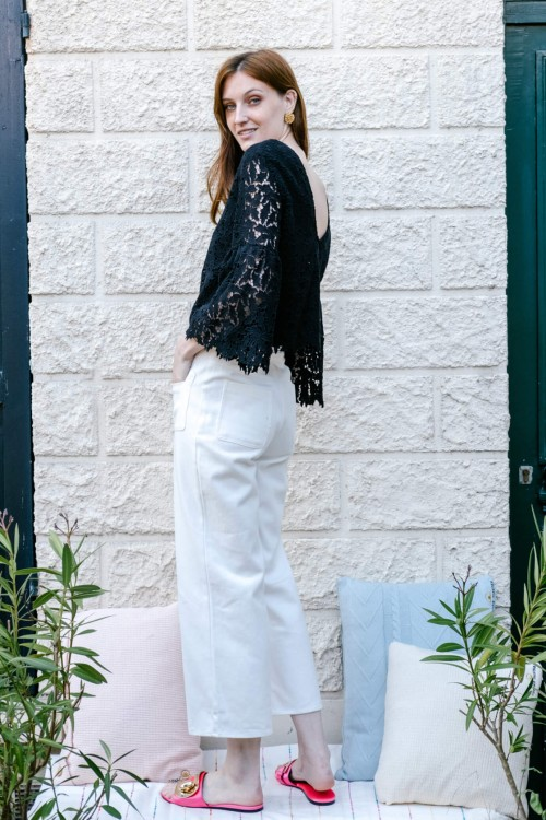 Pantalon blanc 7/8ème coupe évasée 1