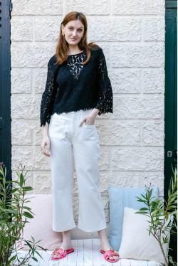 Pantalon blanc 7/8ème coupe évasée 2