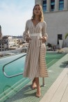 Long dress produced in beige with white stripes 1