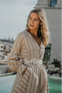 Long dress produced in beige with white stripes 2