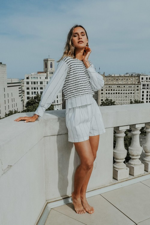 Blouse with white and blue stripes