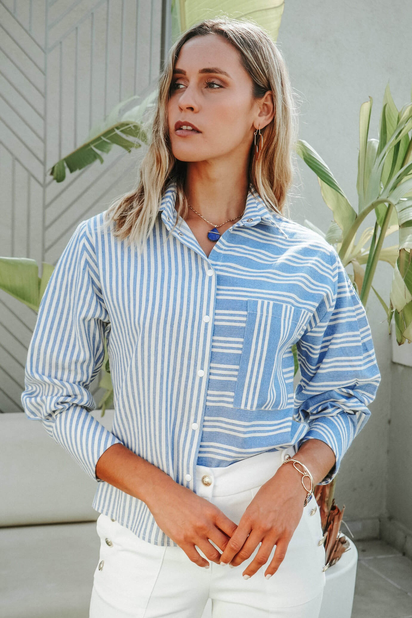 Blue striped shirt with snap fasteners 1
