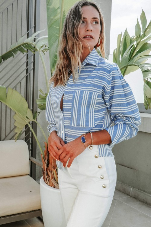 Blue striped shirt with snap fasteners 2