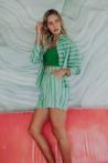 Chemise en coton à rayures vertes