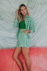 Green striped shirt with snap fasteners 1