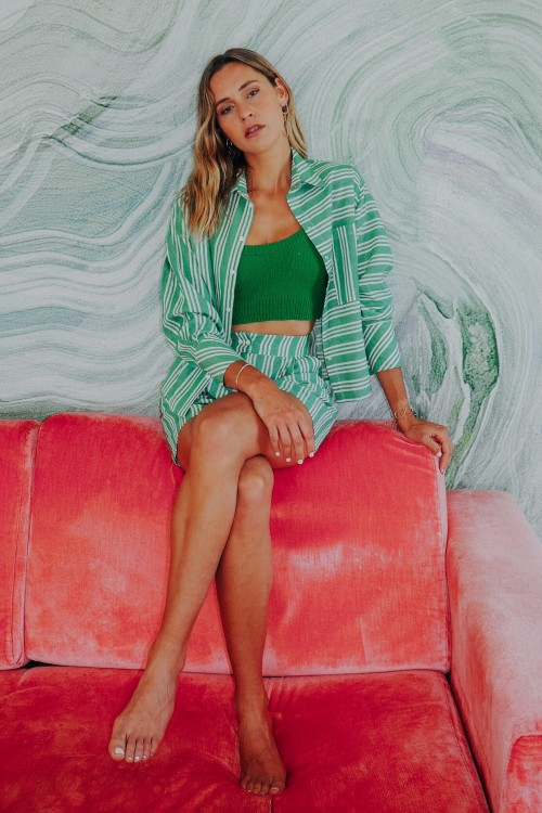 Chemise en coton à rayures vertes 2