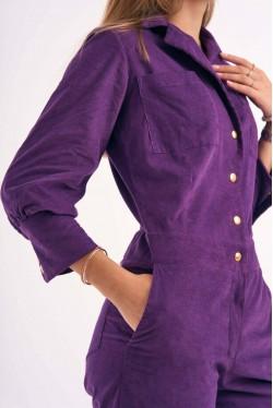 Combi-Pantalon à boutons pressions en velours violet 2
