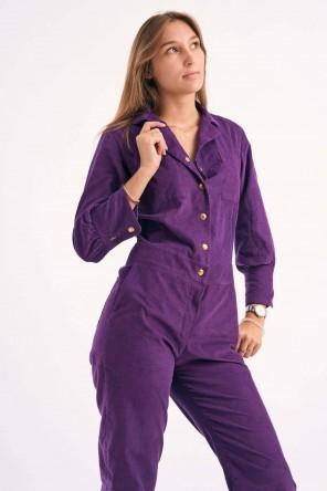 Combi-Pantalon à boutons pressions en velours violet 1