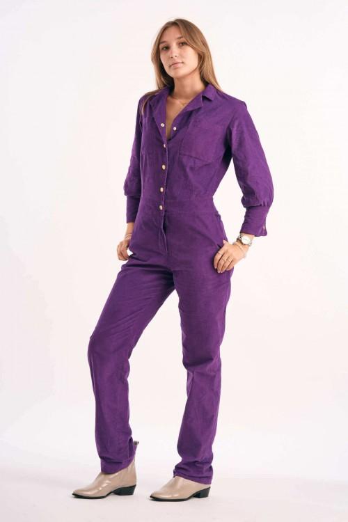Combi-Pantalon à boutons pressions en velours violet 3