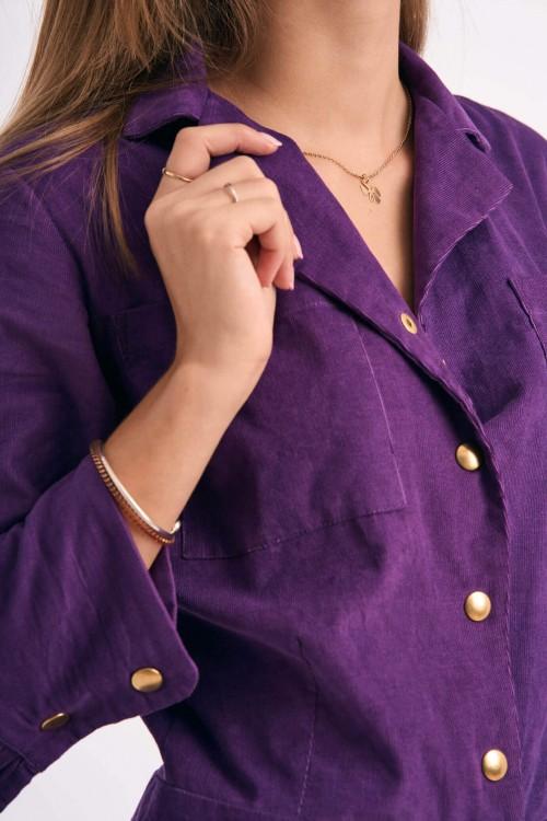 Combi-Pantalon à boutons pressions en velours violet 4