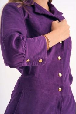 Combi-Pantalon à boutons pressions en velours violet 5