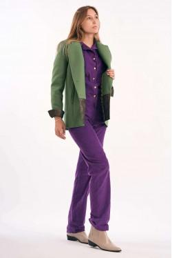 Combi-Pantalon à boutons pressions en velours violet 6