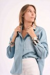 denim shirt with details produced in silk on neck and wrists 1