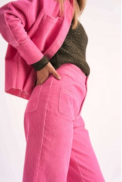 Cord trousers produced in pink made in Paris 2
