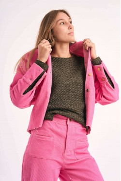 Cord trousers produced in pink made in Paris 4
