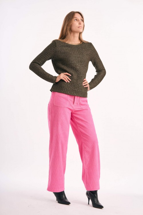 Cord trousers produced in pink made in Paris 5