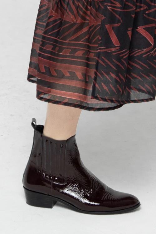 Boot en cuir vernis bordeaux 1