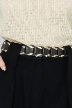 black cowhide leather belt 2