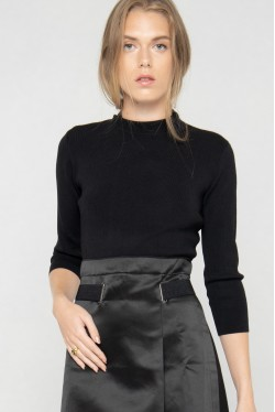 Robe pull noire bimatière cintrée moderne par la marque de mode parisienne Koshka Paris
